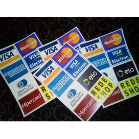 14 Adesivos Das Bandeiras Dos Cartões De Crédito E Débito