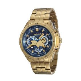 Relógio Masculino Seculus Cronógrafo Dourado 20224gpsvda3