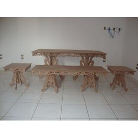 Kit Mesa Provençal Arabesco Mdf Cru 15 Mm Festa Decoração