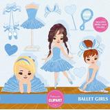 Kit Imprimible Bailarina Tutu Azul 7 Imagenes Clipart