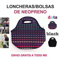 Bolsa Lonchera De Neopreno Dots Y Negra Envio Gratis