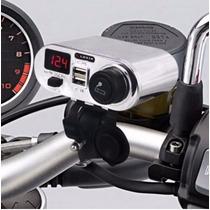 Manillar Usb Con Encendedor Electrico Cromo Para Motocicleta