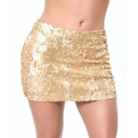 Minissaia Paetê Dourado Com Elast Ropahrara Cris Morena 5687