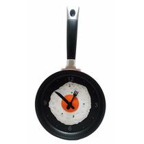 Relógio De Parede 3d Cozinha Formato Frigideira Ovo Frito