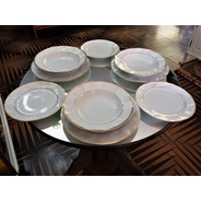 Jogo De Jantar 18 Peças Em Porcelana 3d Com Filetes De Ouro