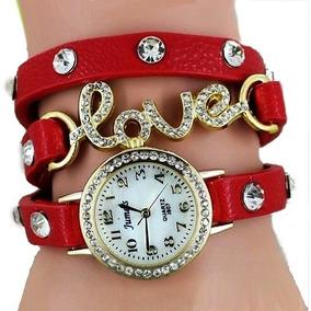 Relogio E Bracelete Feminina Vermelho Love Strass Barato