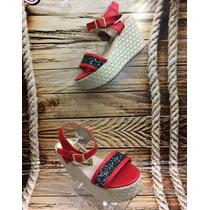 Sandalia Plataforma Bajita Roja Mujer Fabricantes Calzado