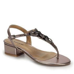 Sandália Salto Grosso Brenda Lee Medelin Trase - Prata Velho