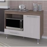 Balcão Cozinha P/ Fogão Cooktop Com Espaço Para Forno Marrom