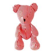 Urso Ursinho De Pelúcia Listras Vermelhas 30 Cm