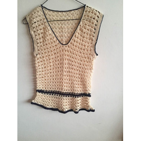 Suéter Camiseta Pullover Tejido En Crochet 100% Algodon