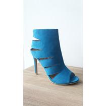 Sandalia Casual Con Tacon Alto Color Azul Y Mostaza
