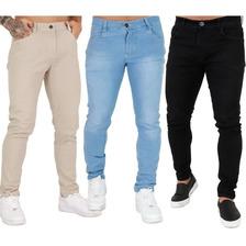 Kit 3 Calça Jeans Sarja Masculina Skinny Slim Lycra Colorida