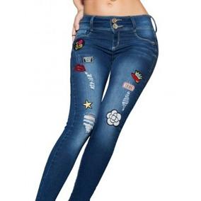 Jeans /mezclilla Seven Eleven Tubo Con Parches A La Moda