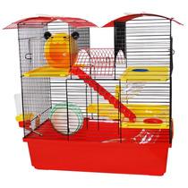 Gaiola Para Hamster Mansão 3 Andares Vermelho Linda Diversão