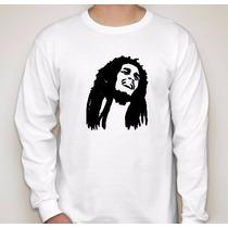 Camiseta Bob Marley Manga Longa Algodão Camisa Reggae Rasta