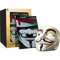 Máscara V De Vingança Original Deluxe + Livro Box V Vendetta