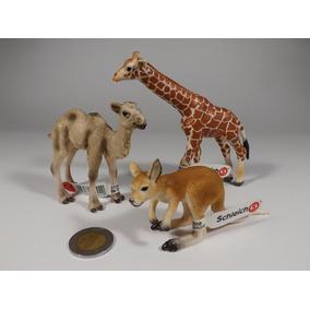 3 Figuras Schleich Animal Silvestre Jirafa Canguro Camello