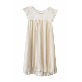 Vestido De Nena Con Encaje Gasa Brillo, Brishka N-0099