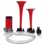 Buzina 2 Cornetas Automotiva Compressor A Ar Vermelha 12v
