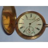 Reloj Antiguo De Bolsillo De Oro 18k Único Con Cadena De Oro