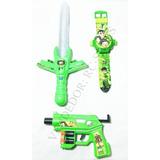 Kit Relógio Digital Ben 10 Projetor +espada Som Arma Luz