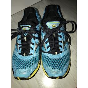 Tenis Mizuno Wave Creation 13 Tamanho 34 Azul Com Amarelo