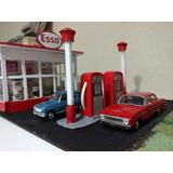 Estación De Servicio Esso 1/43 Maqueta Diorama