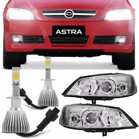 Par Faróis Astra 03 A 12 Mas Cromada + Super Led 6000k 12v