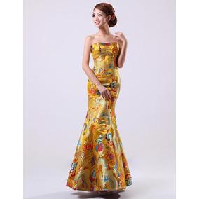 Vestido De Baile Cetim Real Sereia Evening Formal Bordado
