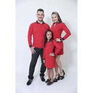 Pais E Filha  Kit 03 Peças Vermelho Ml Camisa+vestidos Polo