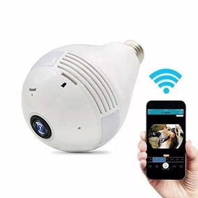 Camera Ip Lampada Panoramica Seguraça Vr 360 Wifi Led