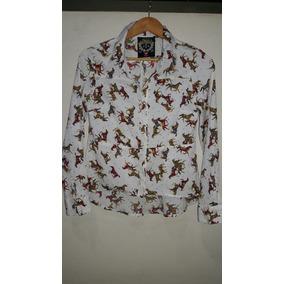 Camisa Seda Estampa Cavalo P