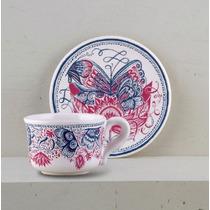 Taza Y Plato De Té De Ceramica Ilustrada- Tienda Puro Diseño