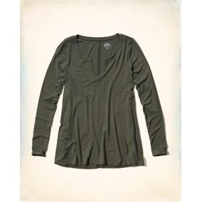 Camiseta Hollister Feminina Original Verde Escuro
