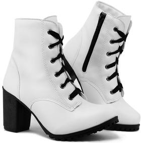 Bota Feminina Tratorada Ankle Boot C/ Ziper Branca Opaca