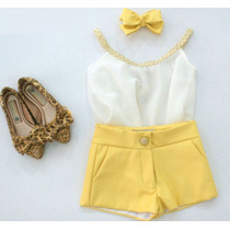 Conjunto Vestido Luxo Menina Infantil Regata + Short