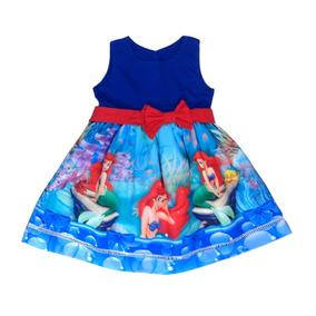 Vestido Infantil Ariel Pequena Sereia Tamanhos 8 A 12 Anos