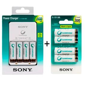 Carregador Sony + 8 Pilhas Aa 2500mah Recarregavel Portatil