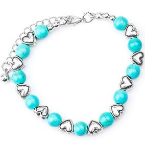 Pulseira Feminina Pedras Turquesa Boemia Coração Beads