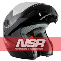 Casco Hawk Rebatible Rs5 Velocidad Negro Blanco Nsr Motos