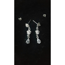 Brinco De Prata Com Pedra Diamante Artificial Flor Feminino