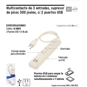 Multicontacto 3 Entradas 2 Usb Supresor De Picos Trupper