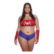 Kit Fantasia Mulher Aranha Plus Size Promoção Completa Top