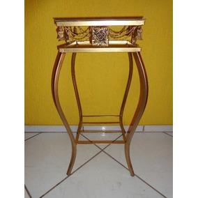 Aparador Mesa Canto Ferro 30cm C/ Vidro Cor Ouro/ouro Velho