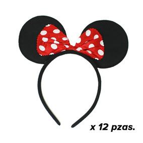12 Diadema Orejas Mimi Minnie Mickey Moño Fiesta Infantil