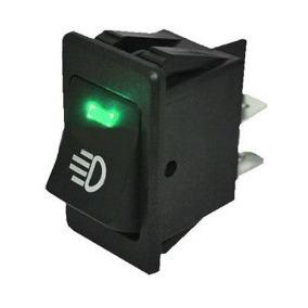 Botão Interruptor Farol De Milha Universal Com Led Verde