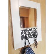 Percheros De Pared Cuadro Espejo Madera Deco Vintage
