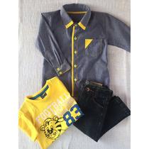 Conjunto Infantil Menino Calça Jeans Camisa Jeans E Camiseta