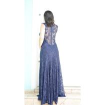 Vestido Festa Renda Azul Marinho Madrinha Tam M Promoção